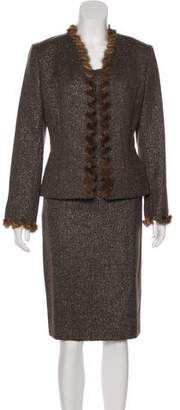Albert Nipon Tweed Skirt Suit Set