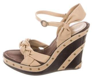 Fendi Leather Wedge Sandals Nude Leather Wedge Sandals