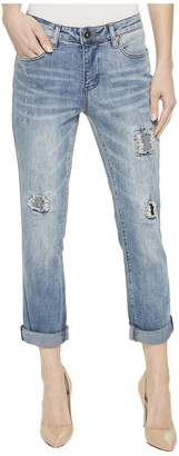 Tribal 25 Stretch Ripped and Repaired Five-Pocket Boyfriend Pants in Vintage Women's Jeans