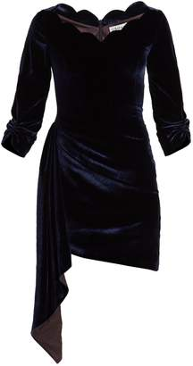 Osman Aileen scallop-edged asymmetric velvet dress