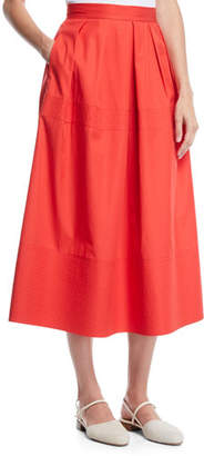 Co Trapunto-Hem Light-Twill Full Circle Midi Skirt
