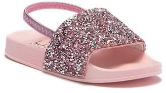 Nicole Miller Rhinestone Cluster Slide Sandal (Toddler)