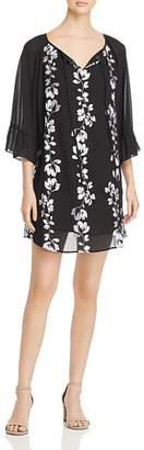 Jonathan Martin Floral Sheer-Sleeve Dress