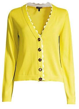 Escada Women's Srilan Scalloped V-Neck Cardigan
