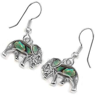 Fashionable Liavy's Elephant Earrings - Fish Hook - Abalone Paua Shell - Unique Gift and Souvenir