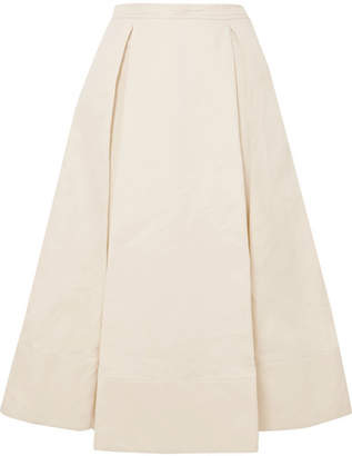 Marni Pleated Cotton And Linen-blend Twill Midi Skirt - Cream