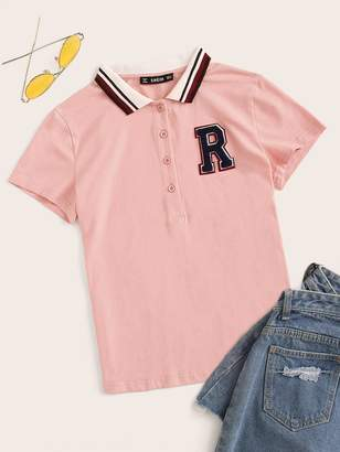 Shein Embroidered Letter Applique Striped Polo Shirt