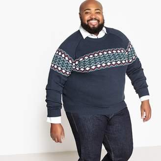 CASTALUNA MEN'S BIG & TALL Plus Size Jacquard Chunky Knit Crew Neck Jumper