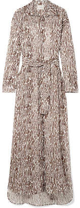 Marios Schwab On The Island By Balos Zebra-print Cotton-voile Robe - Dark brown