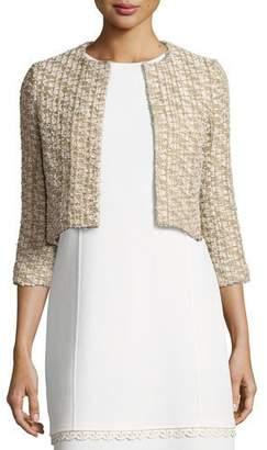 Oscar de la Renta Tweed 3/4-Sleeve Cropped Jacket, Gold