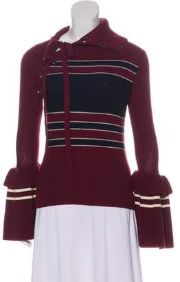 Self-Portrait Medium-Weight Lace-Up Sweater