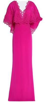 Marchesa Corded Lace-paneled Crepe De Chine Gown