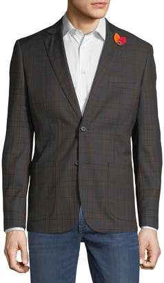English Laundry Men's Plaid Comfort Stretch Sport Coat, Olive