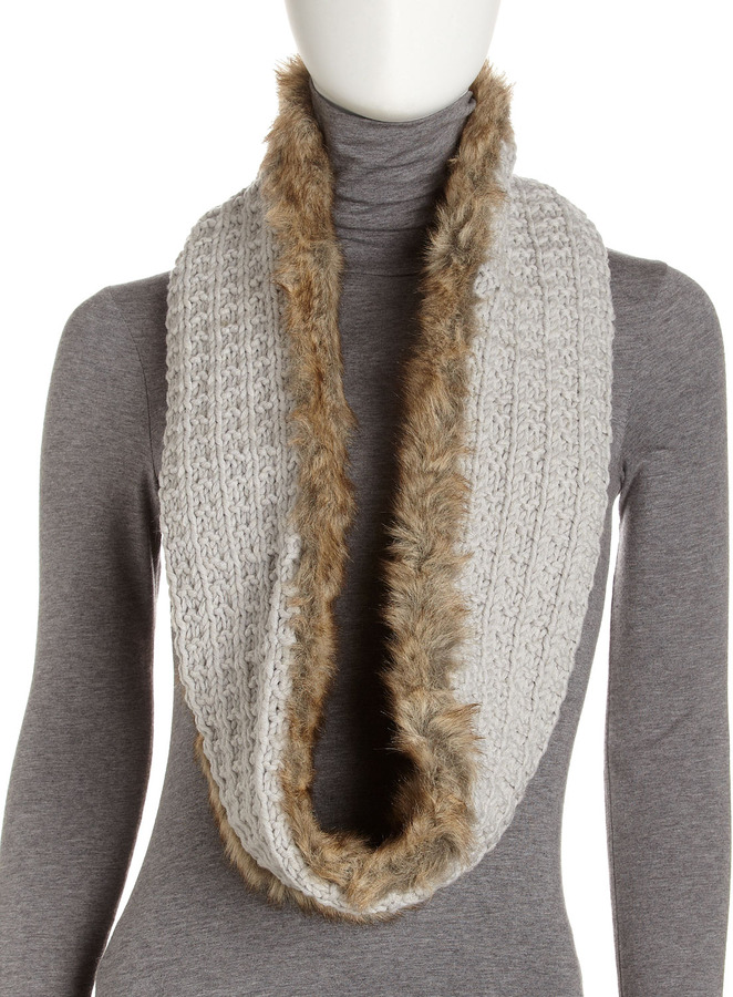 Hat Attack Faux Fur-Crochet Knit Infinity Scarf, Pearl