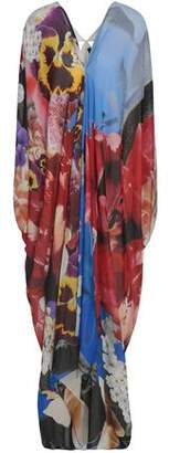 Roberto Cavalli Cutout Floral-Print Silk Crepe De Chine Kaftan