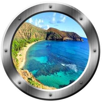 """VWAQ Ocean Beach Wall Sticker Porthole 3D Wall Decal Peel And Stick Decor VWAQ-SP18 (14"""" Diameter)"""