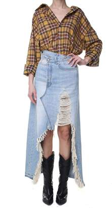 R 13 Harrow Distressed Cotton-denim Maxi Skirt
