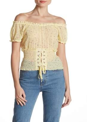 Banjara Printed Off-the-Shoulder Smocked Corset Top