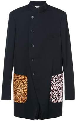 Comme des Garcons mandarin collar jacket animal print pockets