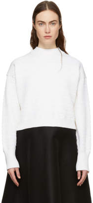 3.1 Phillip Lim White Faux Plait Silk Cocoon Sweater