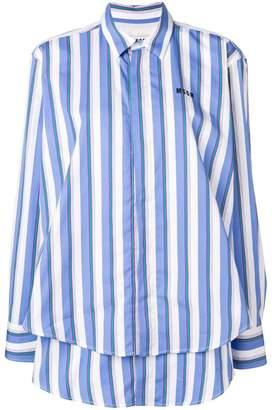MSGM logo print striped shirt