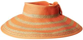 San Diego Hat Company UBV042 Roll Up Visor with Stripe Pattern and Bow Closure Casual Visor