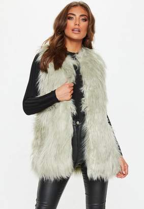 Missguided Green Faux Fur Gilet