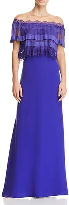 Tadashi Shoji Pleated-Bodice Illusion Gown