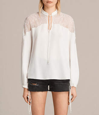 AllSaints Laya Lace Silk Shirt