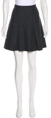 Hache Pleated Wool Mini Skirt