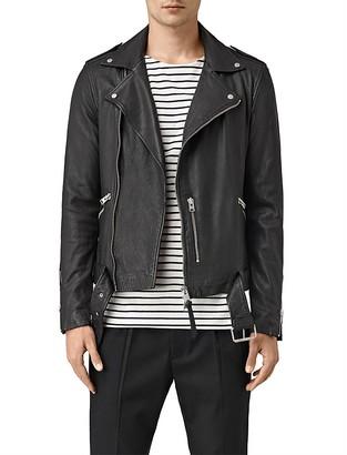 ALLSAINTS Kahawa Slim Fit Leather Biker Jacket $620 thestylecure.com