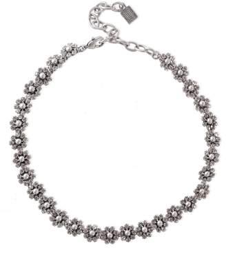 Dannijo Silver And Gunmetal-tone Crystal Necklace