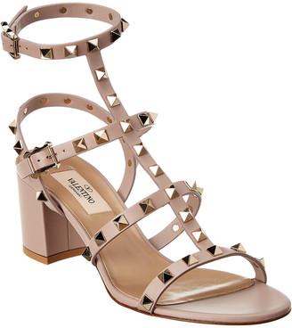 Valentino Rockstud Caged 60 Leather Ankle Strap Sandal