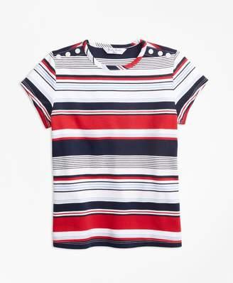 Brooks Brothers Short-Sleeve Cotton Multi-Stripe T-Shirt