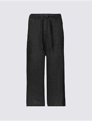 M&S Collection Pure Linen Cropped Trousers