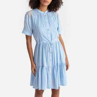 Suncoo Ruffled Short-Sleeved Dress with Lace Shoulders