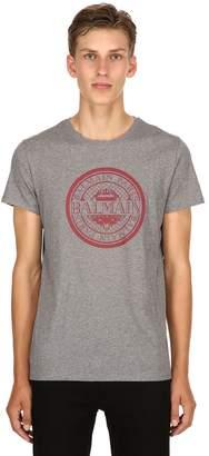 Balmain Logo Crest Printed Cotton Jersey T-Shirt