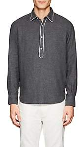 Officine Generale MEN'S ETHAN PIPED COTTON FLANNEL SHIRT - GRAY SIZE XL