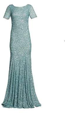 Theia Women's Cowl Back Sequin Trumpet Gown - Ice Blue - Size 6
