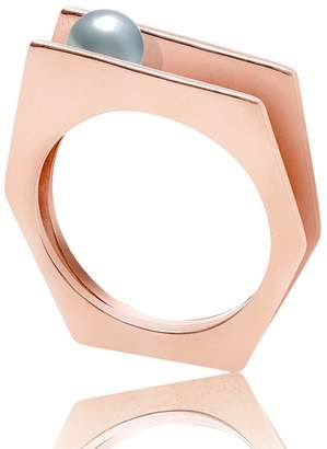 Neola - Alvaro Rose Gold Cocktail Ring With Grey Pearl