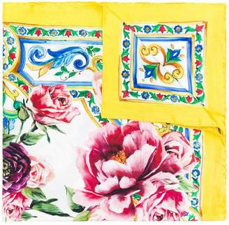 Dolce & Gabbana majolica and peonies print scarf