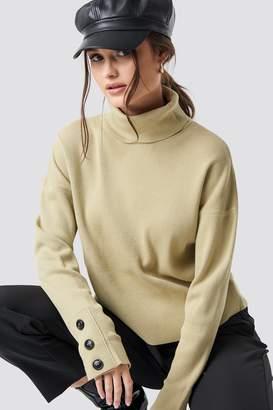BEIGE Na Kd Trend Button Sleeve Highneck Sweater