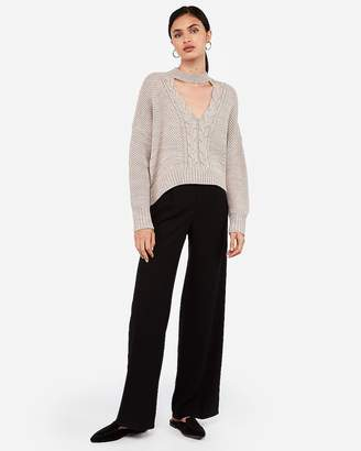 Express Cable Knit Cut-Out Choker Pullover Sweater
