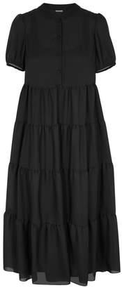 Emporio Armani Black Silk Georgette Midi Dress