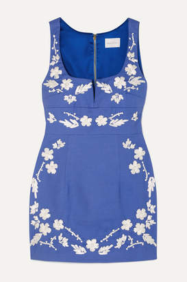 Alice McCall Pastime Paradise Embroidered Cotton Mini Dress - Blue