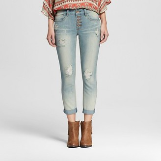 Dollhouse Women's Mid Rise Destructed Skinny Jean Light Wash - Dollhouse (Juniors') $34.99 thestylecure.com