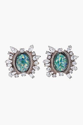 Dannijo Iridescent Green crystal Minka Earrings