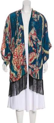 Figue Printed Silk Fringed-Accented Cardigan
