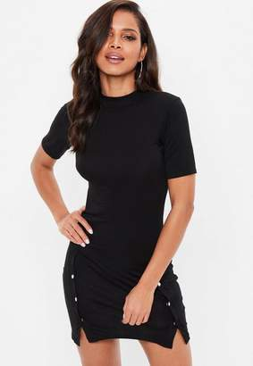 Missguided Black Button Front Tshirt Dress