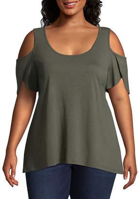 Boutique + + Cold Shoulder Knit Blouse - Plus